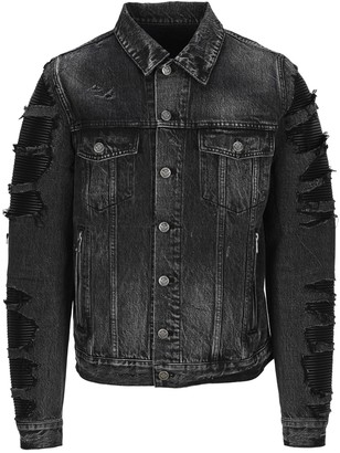 Balmain Quilted Insert Distressed Denim