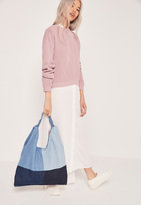 Missguided Patchwork Denim Slouch Tote Bag Blue