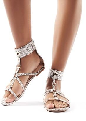 Public Desire Justice Monochrome Snake Strappy Sandals