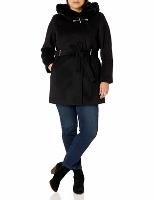 Calvin Klein Womens Plus Sized Faux Fur Shall Collared Coat