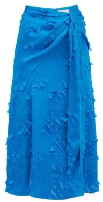Peter Pilotto Fil-coupe Satin-jacquard Midi Skirt - Blue