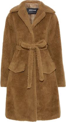 Rochas Belted Wool-blend Fleece Coat