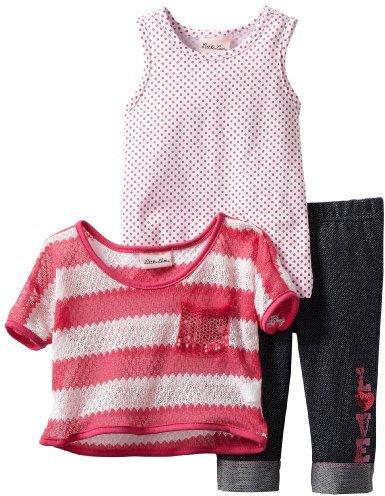 Little Lass Girls 2-6X 3 Piece Striped Crochet Set