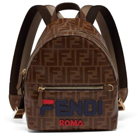 Fendi Mania Logo Applique Coated Canvas Backpack - Womens - Brown Multi