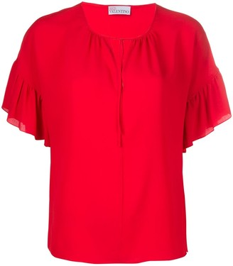 RED Valentino Ruffled Sleeves Cut-Out Blouse
