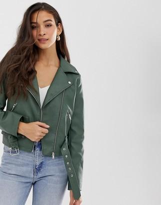 Vila belted faux leather biker jacket-Green
