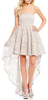 Sequin Hearts Strapless Two-Tone Lace Long High-Low Dress