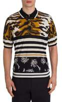 Dolce & Gabbana Animale Printed Silk Polo