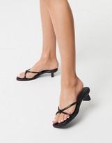 Asos Design DESIGN Hvar flip flop kitten mid-heeled sandals in black croc