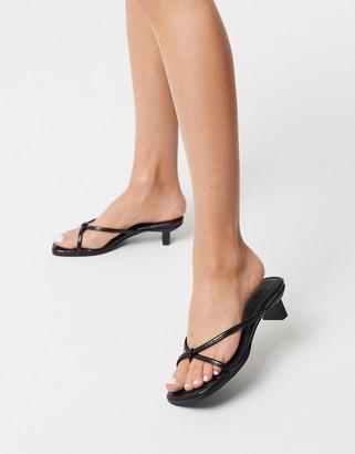 Asos DESIGN Hvar flip flop kitten mid-heeled sandals in black croc
