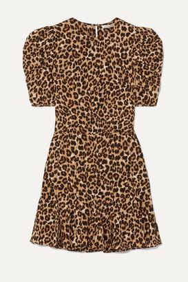 Veronica Beard Lila Leopard-print Stretch-silk Crepe De Chine Mini Dress - Brown