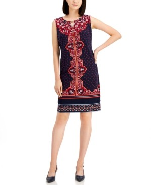 JM Collection Madeline Medallion-Print Dress, Created for Macy's