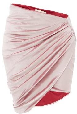 Alexandre Vauthier Asymmetric Velvet Mini Skirt - Pink