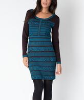 Yuka Paris Brown & Turquoise Stripe Sweater Dress