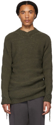 Boris Bidjan Saberi Grey Wool V-Neck Sweater