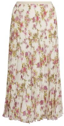 Giorgio Grati Pleated Floral Midi Skirt