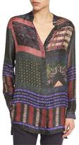 Etro Striped Button-Front Tunic Blouse, Purple/Red
