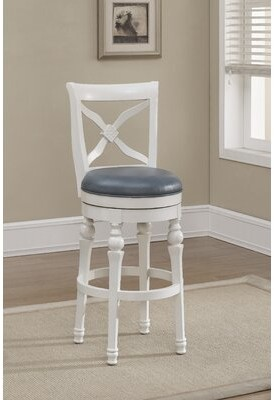 "American Heritage Livingston Bar & Counter Swivel Stool Seat Height: Counter Stool (26"" Seat Height), Color: Antique White, Upholstery: Cornflower Bon"