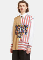 Stella Mccartney Oversized Members Print Striped Patchwork Shirt In White