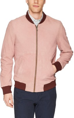 Scotch & Soda Men's Leather Bomber Jacket With Cut & Sewn Styling Outerwear