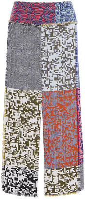 Roland Mouret Booth Patchwork-effect Wool And Cotton-blend Jacquard Midi Skirt
