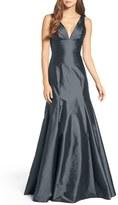 Women's Monique Lhuillier Bridesmaids Deep V-Neck Taffeta Trumpet Gown