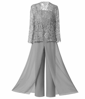 LoveeToo Women's 3 Pieces Chiffon Mother of Bride Dress Pant Suits W/ Long Sleeves Appliques Lace Jacket for Wedding(UK14