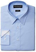 Nick Graham Men's Solid Cotton Poplin Dress Shirt- Slim Fit- Point Collar