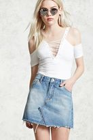 Forever 21 FOREVER 21+ Frayed Denim Skirt