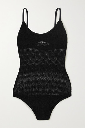 Missoni Mare Metallic Crochet-knit Swimsuit - Black