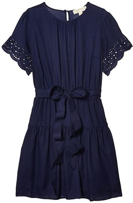 MICHAEL Michael Kors Cotton Eyelet Short Sleeve Dress (True Navy) Women's Dress
