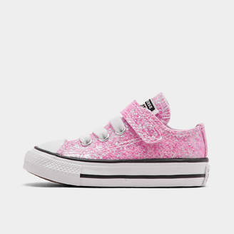 Converse Girls' Toddler Chuck Taylor All Star Coated Glitter Hook-and-Loop Casual Shoes