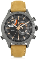 Timex Chrono Timer Gray Stainless Steel Case and Tan Leather Strap Men's Watch