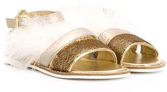 MonnaLisa Feather Trim Sandals