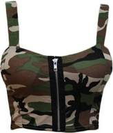 GirlsWalk Girls Walk Women's Army Camouflage Print Padded Zip Front Bralet Crop Bra Top