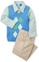 Good Lad Toddler Boys) 3-Piece Argyle Vest & Khaki Pants Set