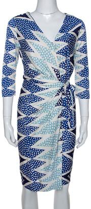 Diane von Furstenberg Ornamentalist Diamonds Print Evrin Wrap Dress M