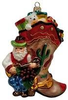 Western Cowboy Boot Santa Claus with Presents Polish Glass Christmas Ornament