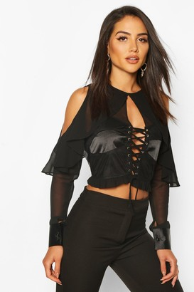 boohoo Satin Panel Cup Detail Cold Shoulder Top