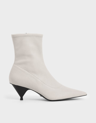 Charles & Keith Leather Cone Heel Ankle Boots