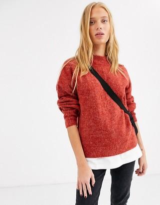 Ichi high neck jumper-Red