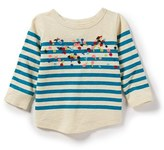 Peek 'Jessica' Floral Embroidered Stripe Slub Tee (Baby Girls)