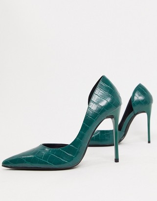 Truffle Collection pointed stiletto heels in green croc