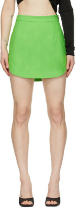 ATTICO Green Side Slit Miniskirt