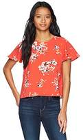 Jolt Women's Printed Flutter Sleeve Top