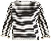 Moncler Pompom-embellished striped cotton top