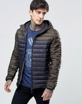 Scotch & Soda Quilted Jacket With Color Block In Navy
