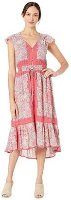 Lucky Brand Border Print Felice Dress (Red Multi) Women's Dress