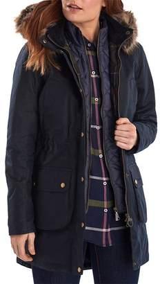 Barbour Thrunton Faux Fur-Trim Waxed Cotton Jacket