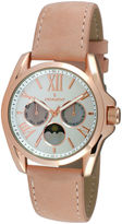 Peugeot Women's Rose Tone Multi-Function Pink Suede Strap Watch